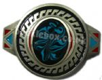 AZTEC - BLUE PATTERN - Belt Buckle + display stand